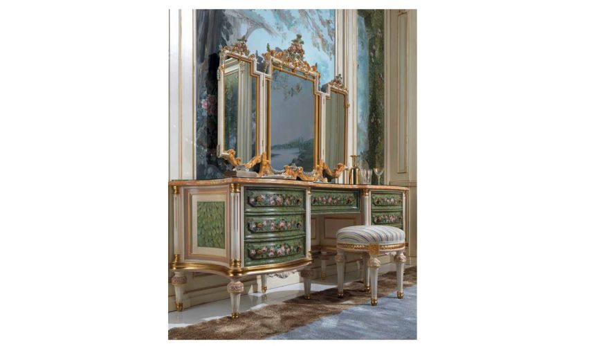 Dressing Vanities & Furnishings Jungle Gem Dressing Table with Mirrors from our European hand painted furniture collection. 7136