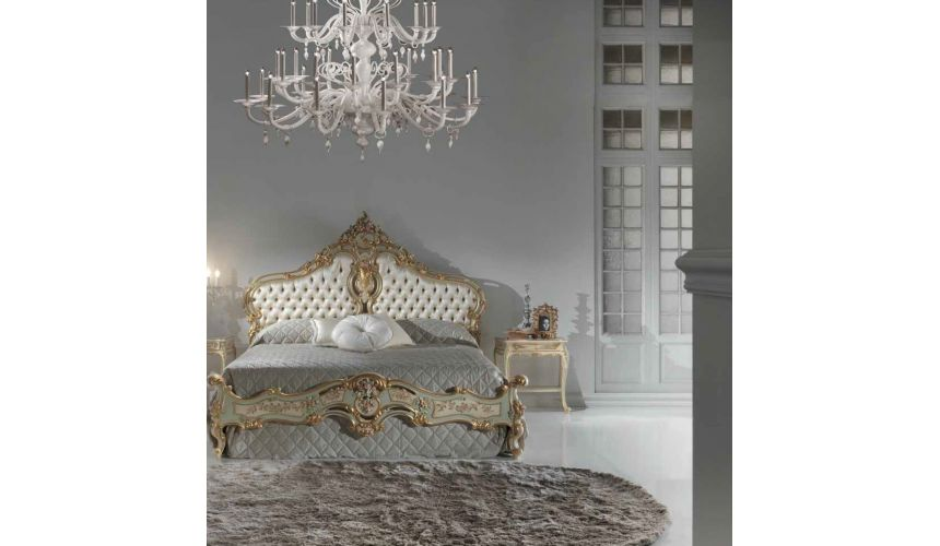 Queen and King Sized Beds Luxurious Mint and Cream Master Bed from our European hand painted furniture collection. 7142