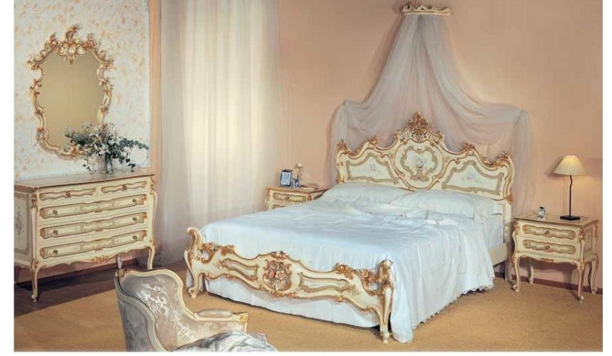 Luxury Bedroom Furniture Palatial Cream and Golden Bed Set from our European hand painted furniture collection. 7144