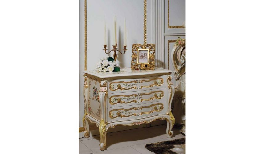 Chest of Drawers High End Floral and Golden Night Tables from our European hand painted furniture collection. 7146