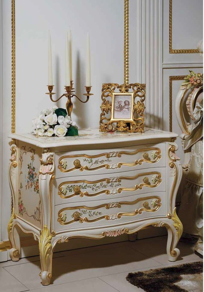 Chest Of Drawers High End Fl And Golden Night Tables From Our European Hand Painted Furniture
