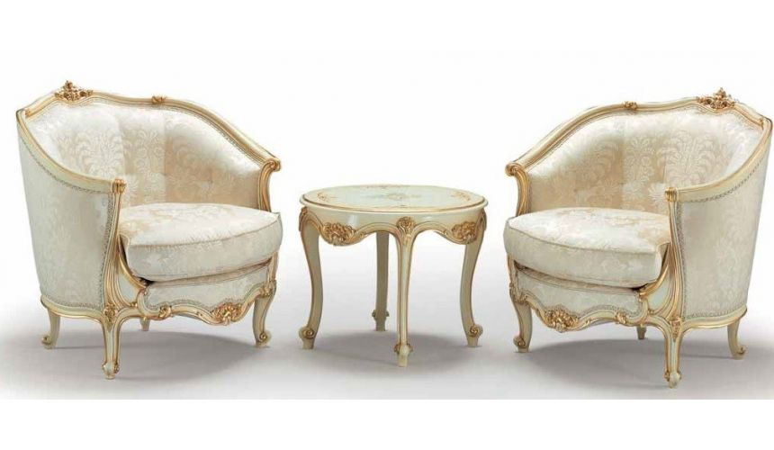 CHAIRS, Leather, Upholstered, Accent Godly White and Golden Armchairs and Table from our European hand painted furniture coll...