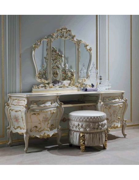 Dressing Vanities & Furnishings Golden Flowers Dressing Table and Mirrors from our European hand painted furniture collection...