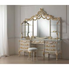 Detailed Dressing Table with Triple Mirror from our European hand painted furniture collection. 7155
