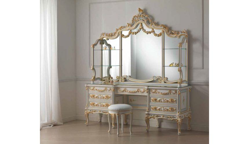 Dressing Vanities & Furnishings Detailed Dressing Table with Triple Mirror from our European hand painted furniture collectio...