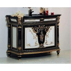 Black, White and Golden Sink and Cabinet from our European hand painted furniture collection. 7165
