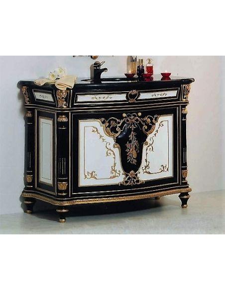 Dressing Vanities & Furnishings Black, White and Golden Sink and Cabinet from our European hand painted furniture collection....