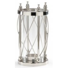 Nickel Finish Pillar Candle Stand