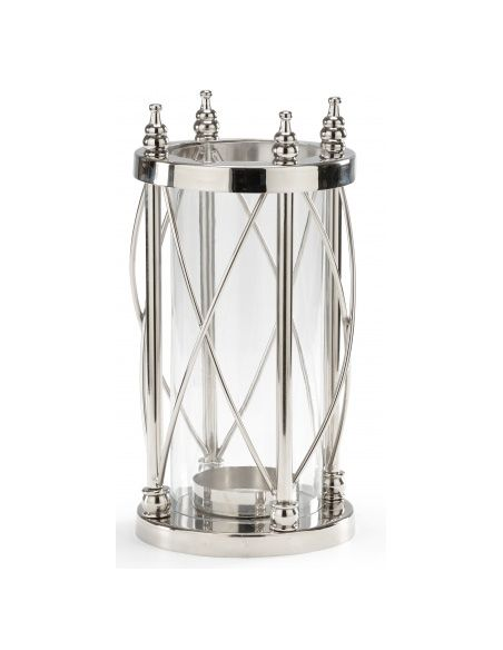 Decorative Accessories Nickel Finish Pillar Candle Stand