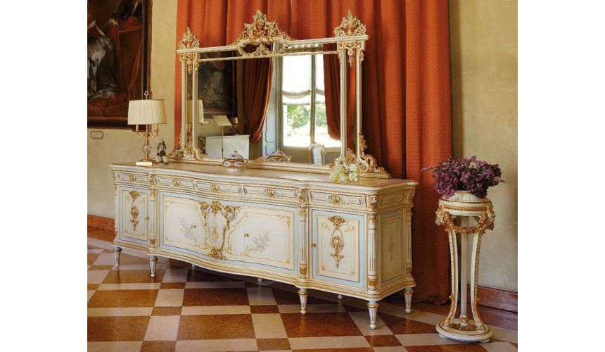 Breakfronts & China Cabinets Royal Mint and Golden Sideboard and Mirror from our European hand painted furniture collection. ...