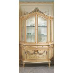 Elegant Cream and Floral Showcase from our European hand painted furniture collection. 7202