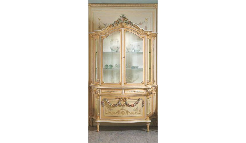 Breakfronts & China Cabinets Elegant Cream and Floral Showcase from our European hand painted furniture collection. 7202