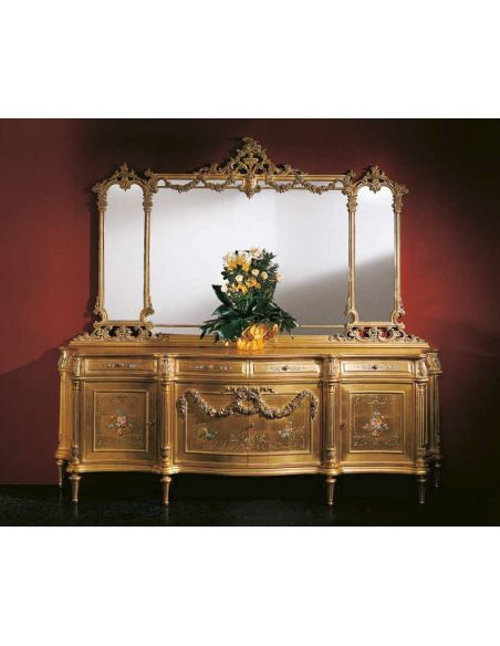 Breakfronts & China Cabinets Detailed Golden Sideboard with Mirror from our European hand painted furniture collection. 7203
