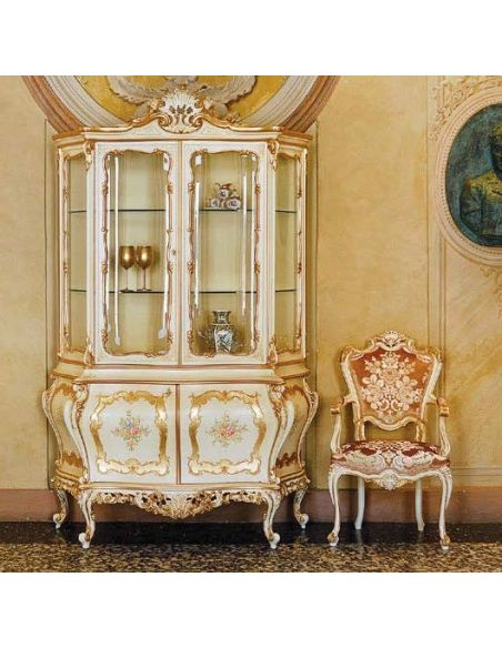 Breakfronts & China Cabinets Luxurious Golden Showcase from our European hand painted furniture collection. 7206