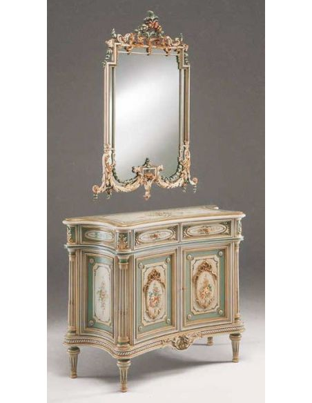 Chest of Drawers Antique-looking Floral Sideboard from our European hand painted furniture collection. 7207