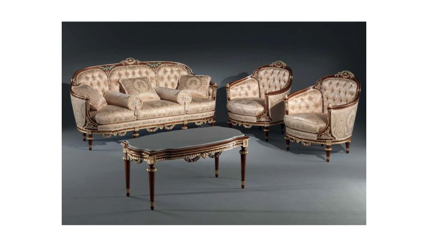Dining Tables Luxurious Golden Floral Sofa Set from our European hand painted furniture collection. 7210