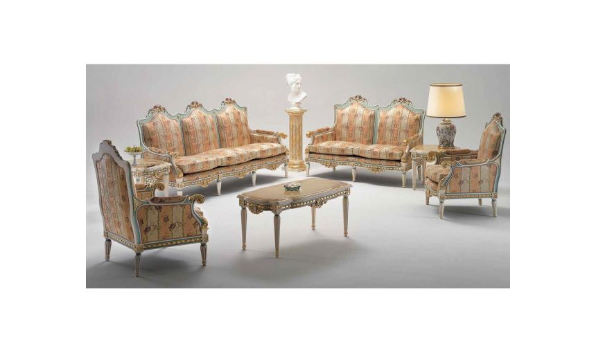 Dining Tables High End Coral and Seafoam Sofa Set from our European hand painted furniture collection. 7212