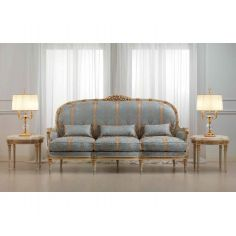 Elegant Blue and Golden Striped Sofa Set from our European hand painted furniture collection. 7213