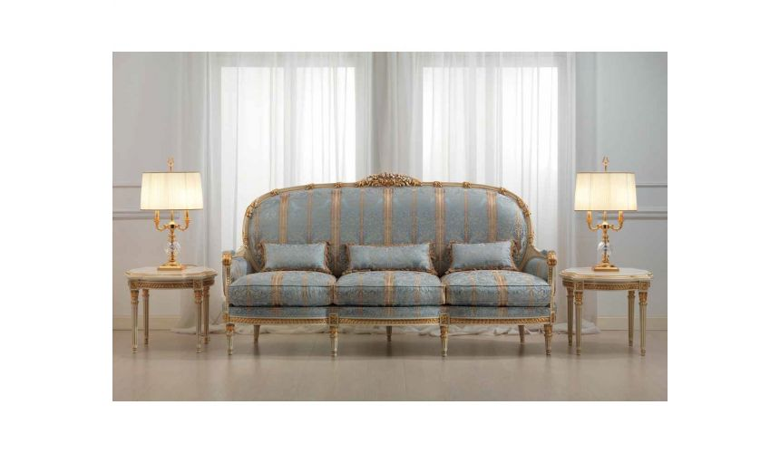 SOFA, COUCH & LOVESEAT Elegant Blue and Golden Striped Sofa Set from our European hand painted furniture collection. 7213