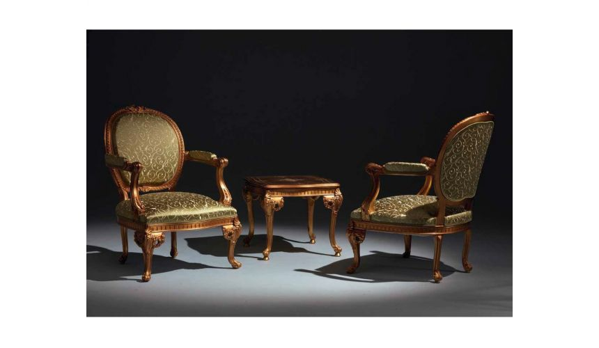 CHAIRS, Leather, Upholstered, Accent Elegant Olive Armchairs and Side Table Set from our European hand painted furniture coll...