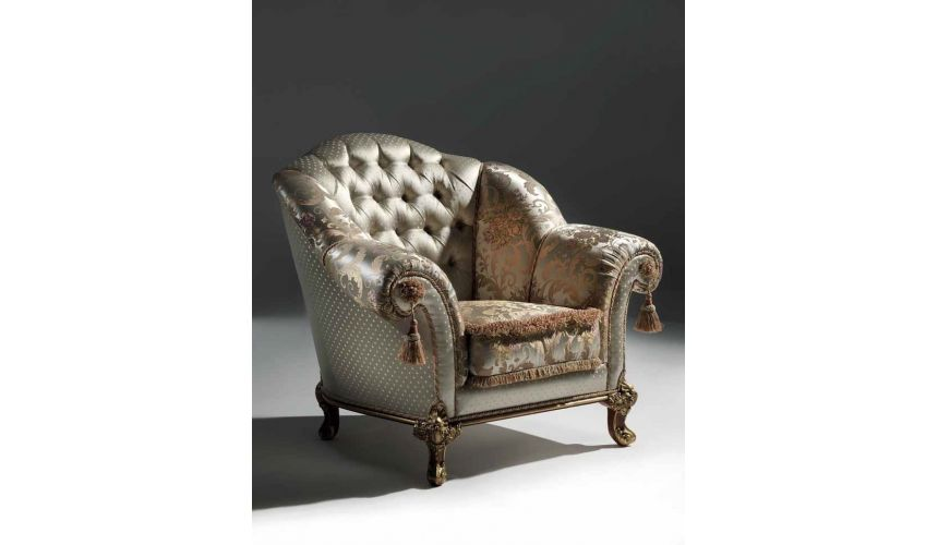 CHAIRS, Leather, Upholstered, Accent Luxurious Mother of Pearl Armchair from our European hand painted furniture collection. ...