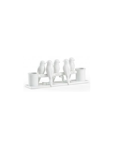 Decorative Accessories White Porcelain Budgies For An Affable Feel