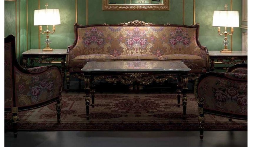 SOFA, COUCH & LOVESEAT Deluxe Sofa Set with Plum Floral Detailing from our European hand painted furniture collection. 7219