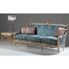 Elegant Mediterranean Blue Sofa from our European hand painted furniture collection. 7221