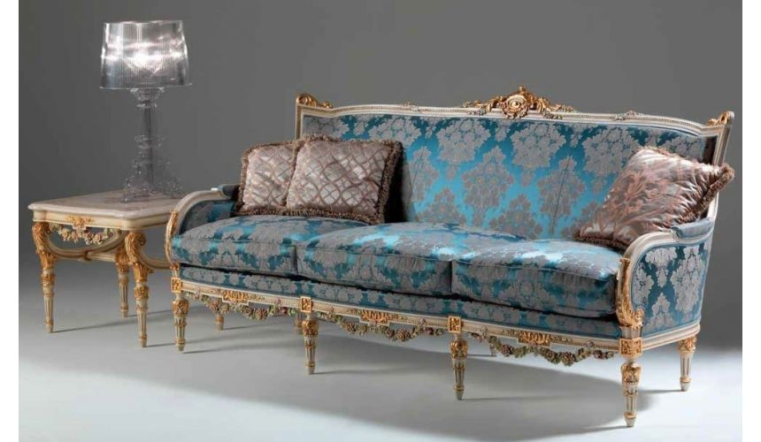 SOFA, COUCH & LOVESEAT Elegant Mediterranean Blue Sofa from our European hand painted furniture collection. 7221
