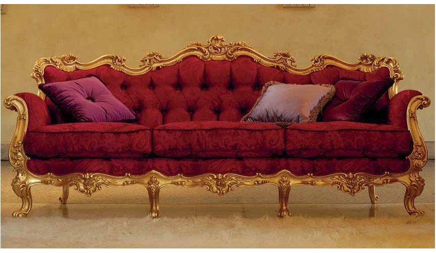 SOFA, COUCH & LOVESEAT Luxurious Ruby and Golden Sofa from our European hand painted furniture collection. 7222