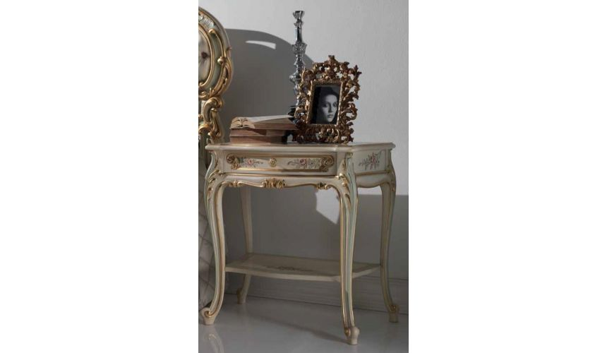 Dressing Vanities & Furnishings Antique-looking Floral Night Table from our European hand painted furniture collection. 7223