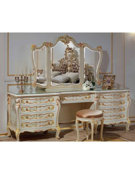 Dressing Vanities & Furnishings Floral Dressing Table with Triple Mirror from our European hand painted furniture collection....