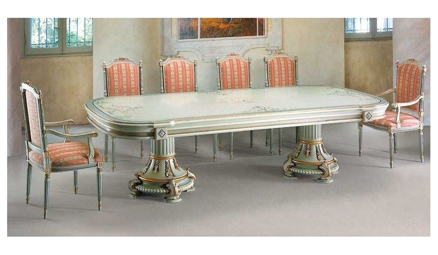 Dining Tables Elegant Coral and Seafoam Dining Set from our European hand painted furniture collection