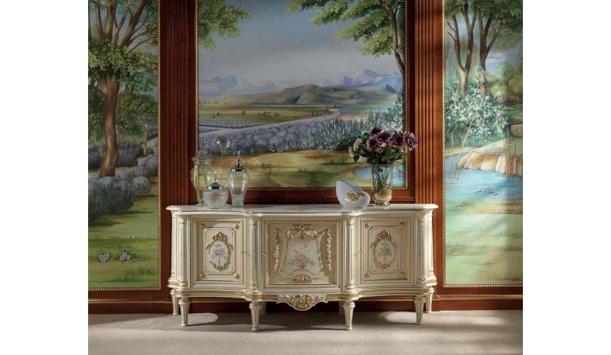 Breakfronts & China Cabinets Elegant Ivory and Golden Sideboard from our European hand painted furniture collection. 7236