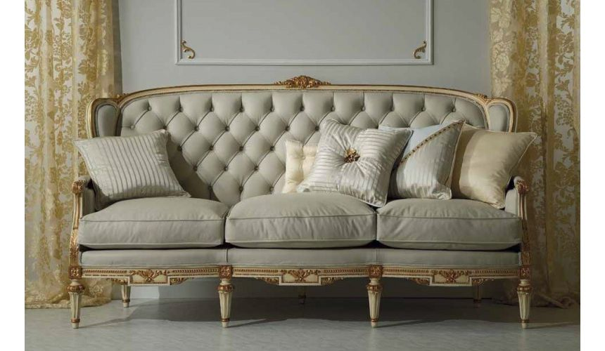 SOFA, COUCH & LOVESEAT High End and Sophisticated Ivory Sofa Set from our European hand painted furniture collection. 7243