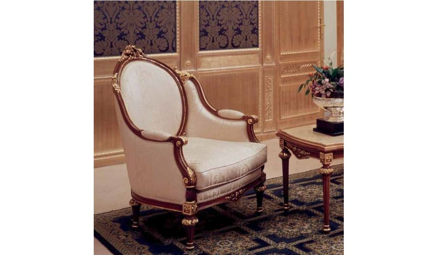 CHAIRS, Leather, Upholstered, Accent Elegant Pearl Armchair from our European hand painted furniture collection. 7249