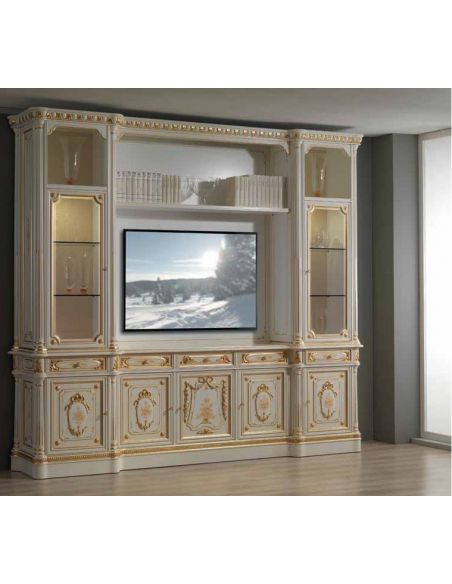 Entertainment Centers, TV Consoles, Pop Ups Angelic Cream and Golden TV Unit from our European hand painted furniture collect...