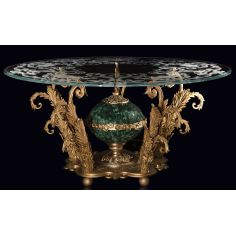 An amazing foyer table with gold plated brass and precious malachite stone.
