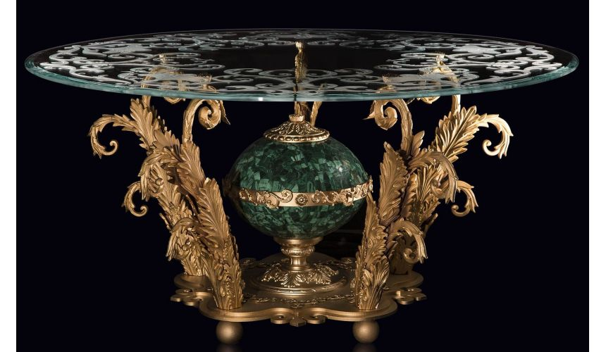Foyer and Center Tables An amazing foyer table with gold plated brass and precious malachite stone.