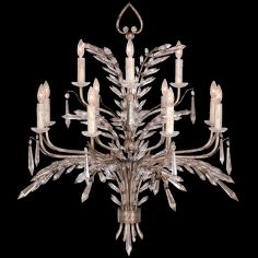 Chandelier of steel in warm antiqued silver finish
