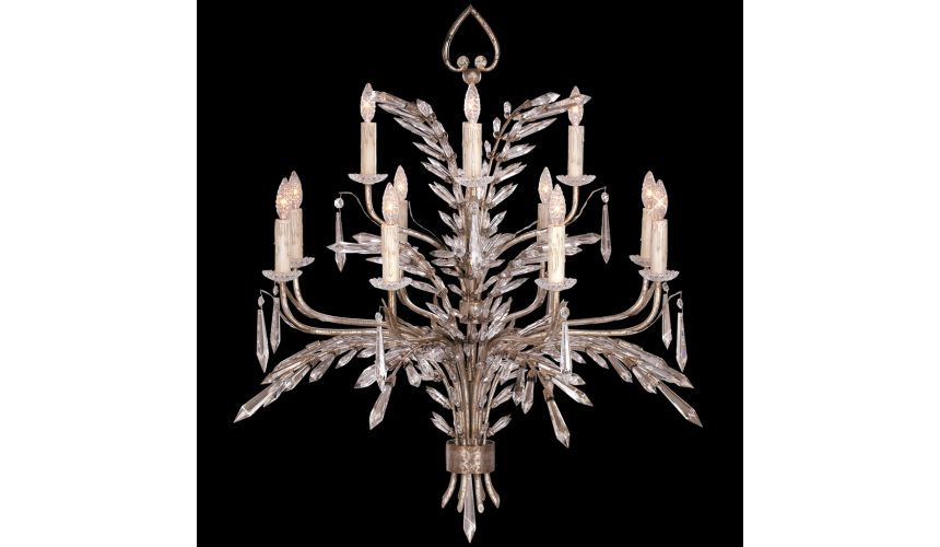 Lighting Chandelier of steel in warm antiqued silver finish