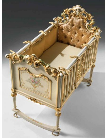 Dressing Vanities & Furnishings Baby Cradle with Flower Hand-Decorations from our European hand painted furniture collection....