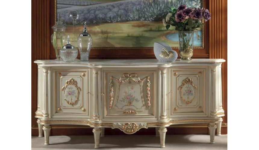 Breakfronts & China Cabinets High End Floral and Cream Sideboard from our European hand painted furniture collection. 7266