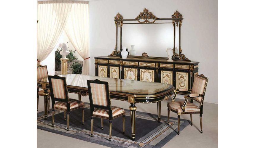 Breakfronts & China Cabinets Luxurious Black and Beige Dining Set from our European hand painted furniture collection. 7267