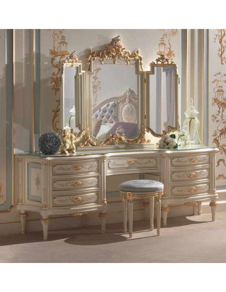 Dressing Vanities & Furnishings Winter Frost Dressing Table with Mirror from our European hand painted furniture collection. ...