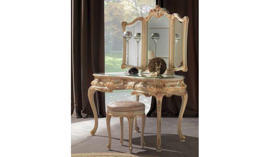 Dressing Vanities & Furnishings Princess Dressing Table and Triple Mirror from our European hand painted furniture collection...
