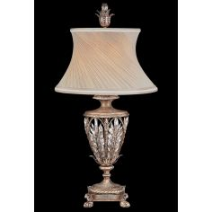 Exquisite table lamp of steel in warm antiqued silver finish