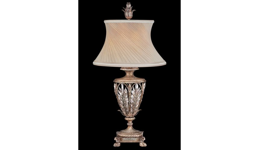 Lighting Exquisite table lamp of steel in warm antiqued silver finish