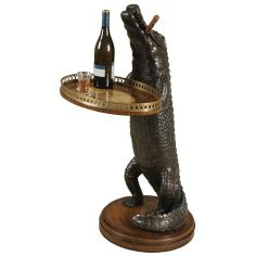 Cast Resin Alligator with Marquetry Tray
