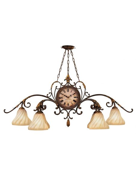 Lighting Oblong chandelier in warm antiqued gold finish
